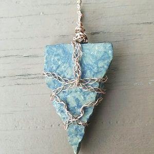Jewelry - Copper & Brass Wire Wrapped Serpentine Slab
